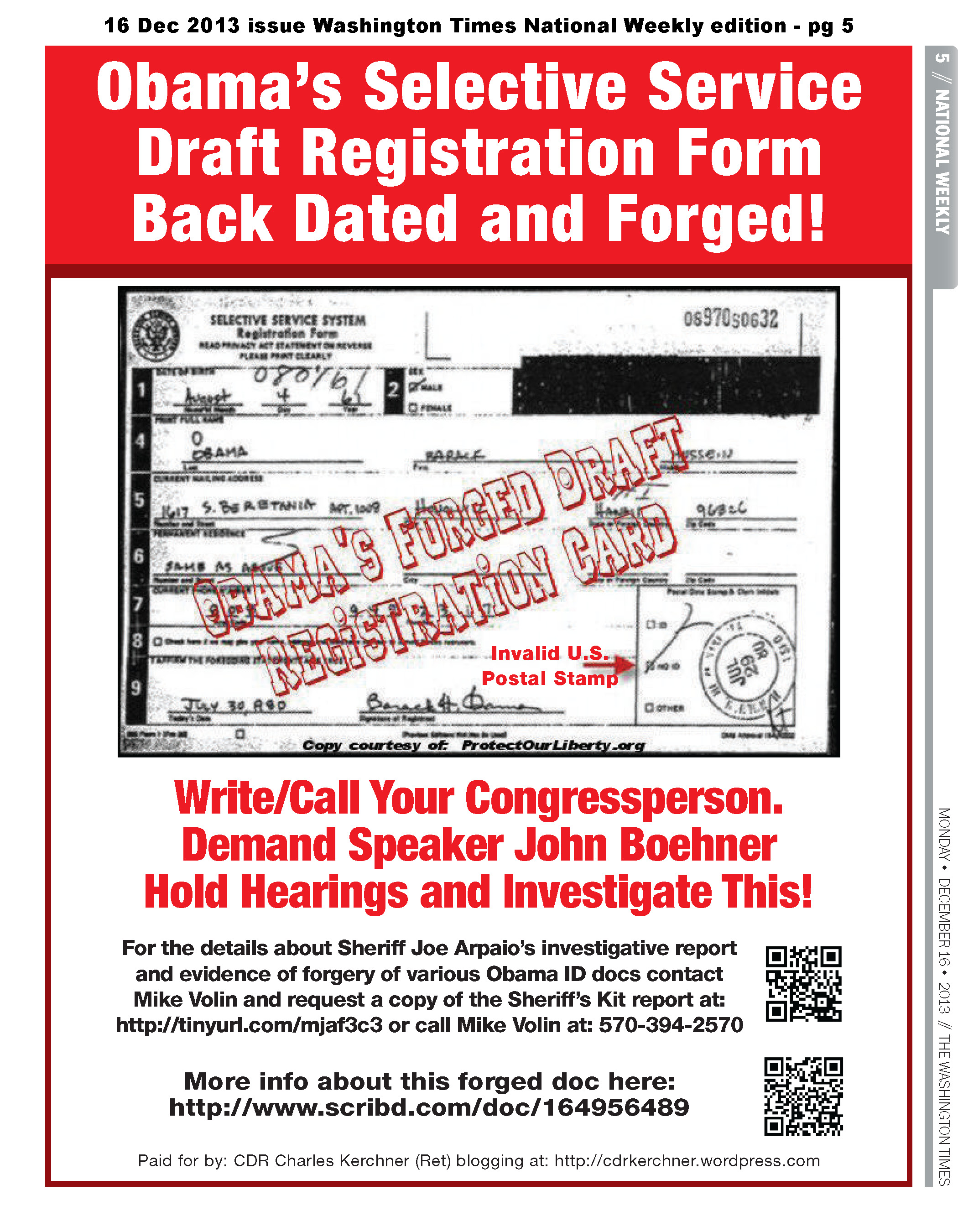 Obama Draft Reg Card Forged!