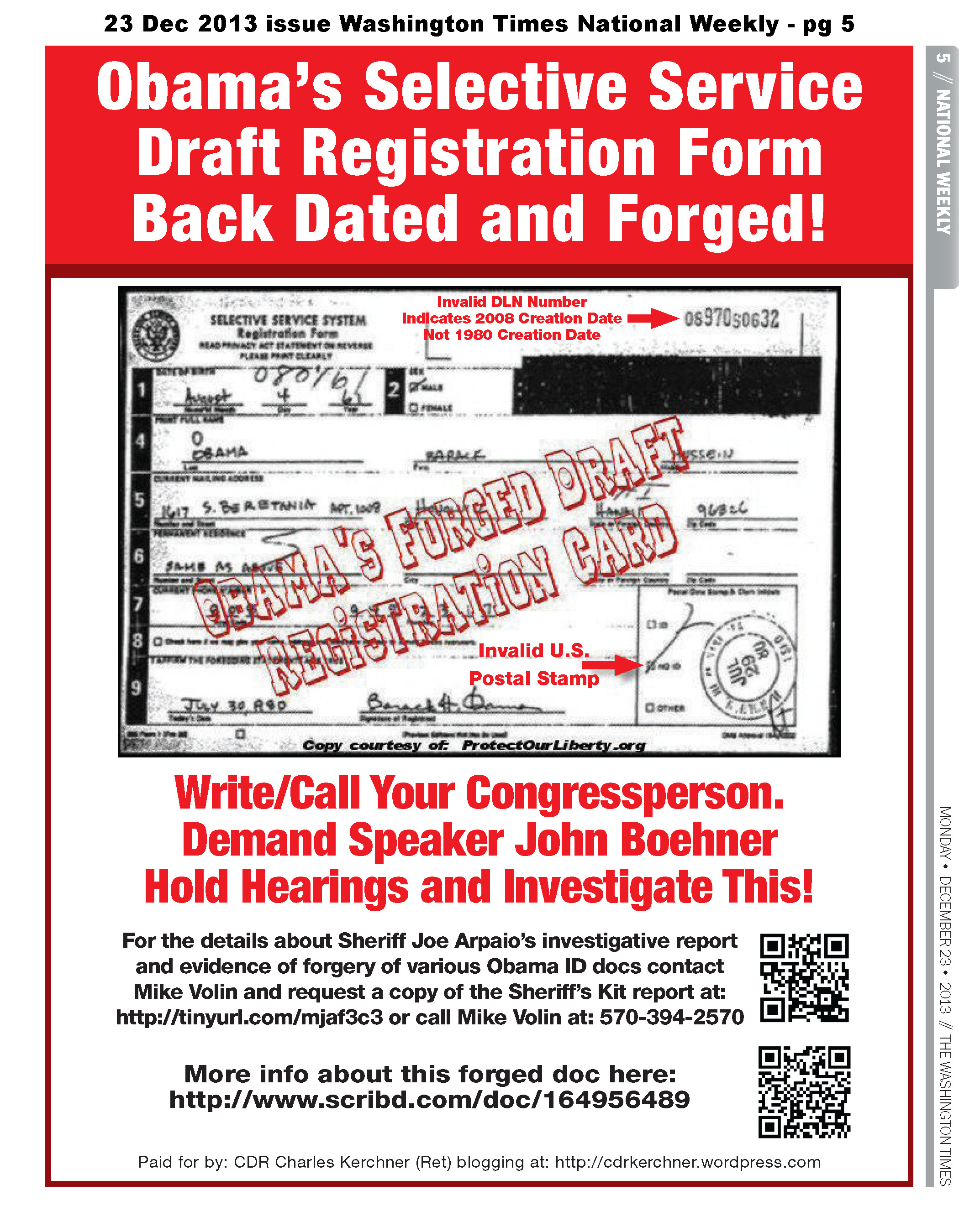Obama Draft Reg Card Forged