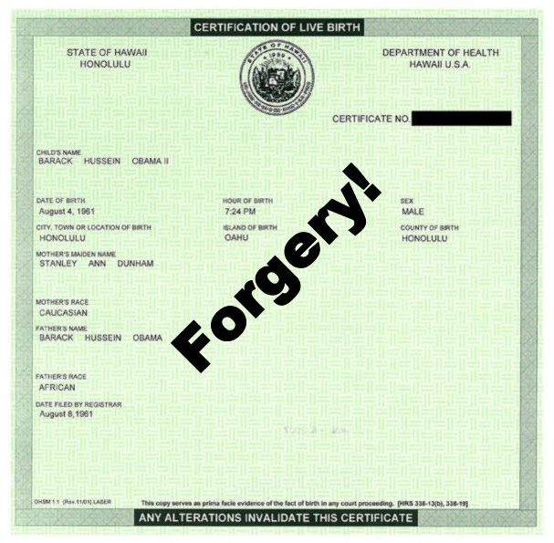 Obama Short-Form Birth Certification Form Forged