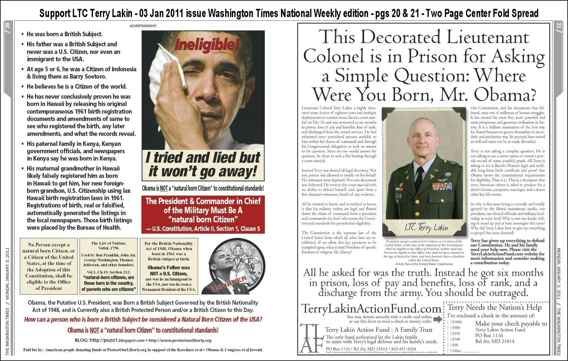 Obama Sweating Ineligible! & Support LTC Lakin